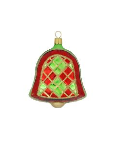 Glocke aus Glas, 9 cm, rot-grün-gold