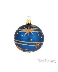 Christbaumkugel aus Glas, 7 cm, blau mit Sternen
