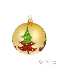 Christbaumkugel aus Glas, 8 cm, gold mit Weihnachtsbäumen