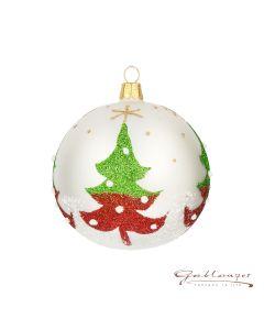 Christbaumkugel aus Glas, 8 cm, weiß mit Weihnachtsbäumen