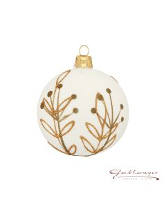 Christmas Ball, 7 cm, white with leaf pattern