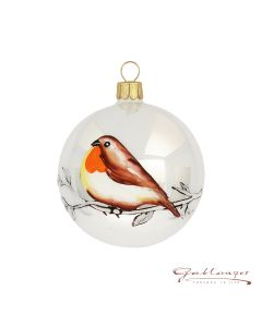 Christmas Ball, 7 cm, silver opal with brown bird