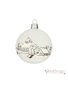 Christmas Ball, 7 cm, transparent white with snowy village