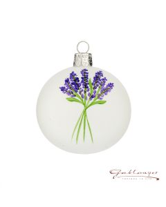 Christmas Ball, 7 cm, white with lavender