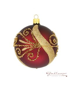 Christmas Ball, 10 cm, wine-red with pearls