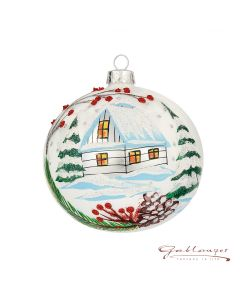 Christmas Ball, 10 cm, white with landscape