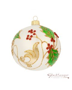 Christmas Ball, 10 cm, white with leaf pattern