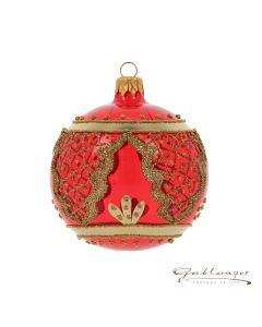 Christbaumkugel aus Glas, 8 cm, transparent rot mit goldenen Ornamenten