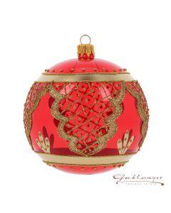 Christbaumkugel aus Glas, 10 cm, transparent rot mit Ornamenten