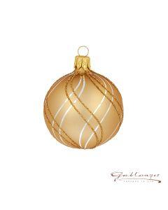 Christbaumkugel aus Glas, 6 cm, matt gold mit Linien