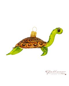 Glass figurine, Turtle, 10 cm, green
