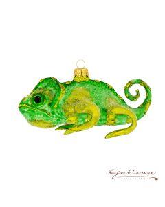 Glass figurine, Chameleon, 14 cm, yellow-green