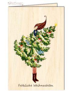 """Glückwunschkarte aus Holz """"Fröhliche Weihnachten"""""""