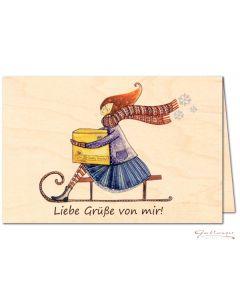 """Glückwunschkarte aus Holz """"Liebe Grüße von mir!"""""""