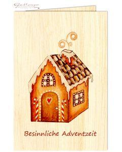"""Glückwunschkarte aus Holz """"Besinnliche Adventzeit"""""""