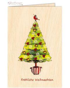 """Glückwunschkarte aus Holz mit """"Fröhliche Weihnachten"""""""