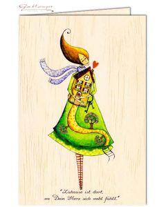 """Glückwunschkarte aus Holz """"Zuhause ist dort, wo Dein Herz sich wohl fühlt-"""""""