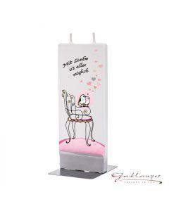 """Elegant flat candle """"Mit Liebe ist alles möglich"""" with 2 wicks and holder, handmade, non-drip"""