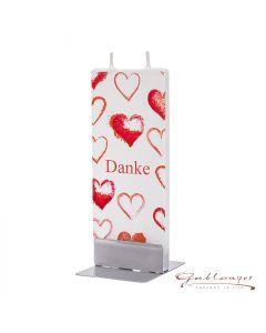 "Elegant flat candle ""Danke"" with 2 wicks and holder, handmade, non-drip"