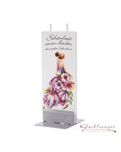 "Elegant flat candle ""Schönheit"" with 2 wicks and holder, handmade, non-drip"