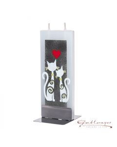 """Elegant flat candle """"cats"""" with 2 wicks and holder, handmade, non-drip"""