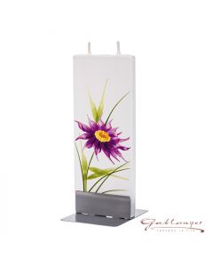 """Elegant flat candle """"purple flower"""" with 2 wicks and holder, handmade, non-drip"""