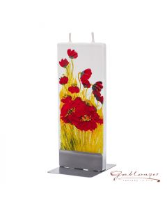 """Elegant flat candle """"Poppy Blossom"""" with 2 wicks and holder, handmade, non-drip"""