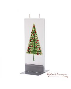 """Elegant flat candle """"Christmastree"""" with 2 wicks and holder, handmade, non-drip"""