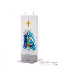"""Elegant flat candle """"Nativity Scene"""" with 2 wicks and holder, handmade, non-drip"""