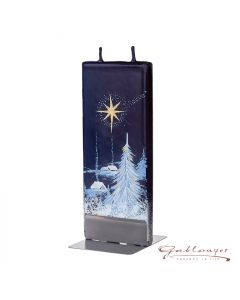 """Elegant flat candle """"Christmas Night"""" with 2 wicks and holder, handmade, non-drip"""