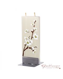 """Elegant flat candle """"Cherry Flower"""" with 2 wicks and holder, handmade, non-drip"""