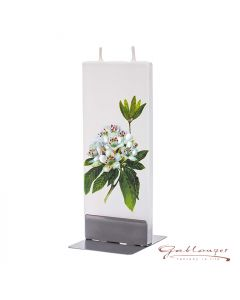 """Elegant flat candle """"Rhododendron"""" with 2 wicks and holder, handmade, non-drip"""