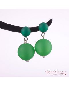 Ear studs with 2 Polaris beads, green