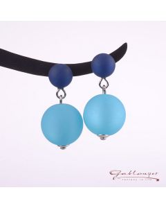 Ear studs with 2 Polaris beads, turquoise-blue