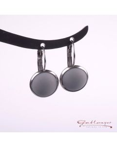 Stud earrings, Brisur with matt acrylic cabochon, light gray