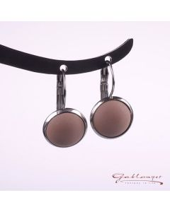 Stud earrings, Brisur with matt acrylic cabochon, cocoa brown