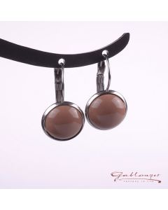 Stud earrings, Brisur with shiny acrylic cabochon, cocoa brown