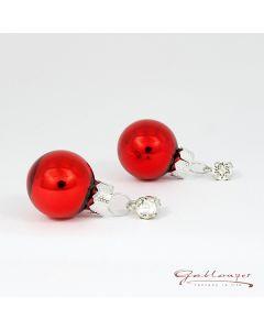 Ohrstecker, Glasstein mit roten, glänzenden Kugeln