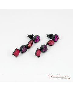 Ohrstecker, hängend mit 4 Glassteinen, grau-pink