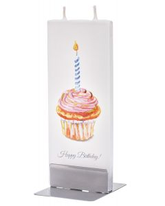 """Elegante Flachkerze """"Happy Birthday"""" mit 2 Dochten und Halterung, handgefertigt, tropffrei"""