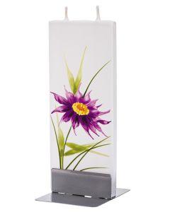 """Elegante Flachkerze """"lila Blume"""" mit 2 Dochten und Halterung, handgefertigt, tropffrei"""