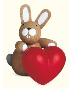 Holzfigur, Häschen mit Herz, handgefertigt, 3,5 cm