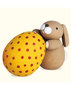 Holzfigur, Häschen mit Ei, handgefertigt, 3,5 cm