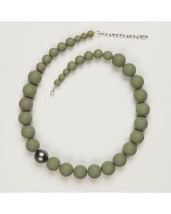 Kette aus matten Perlen, 20 mm, oliv