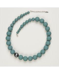 Kette aus matten Perlen, 20 mm, taubenblau