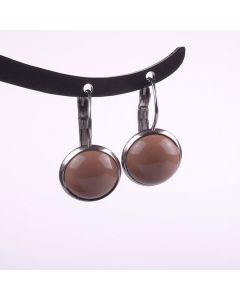 Ohrringe, Brisur mit glänzendem Acrylcabochon, kakao-braun