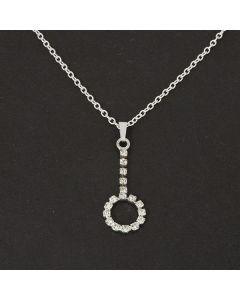 Halskette, Anhänger mit Strassteinen, silber