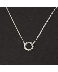 Halskette, Strassring, silber