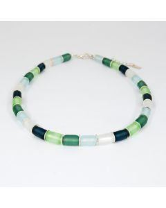 Collier mit Glaswalzen, mattsilber-grün
