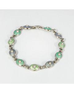 Armband, silber-gruen, 21 cm